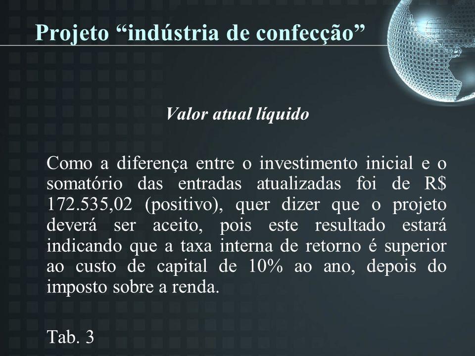 Projeto indústria de confecção Valor atual líquido Como a diferença entre o investimento inicial e o somatório das entradas atualizadas foi de R$ 172.