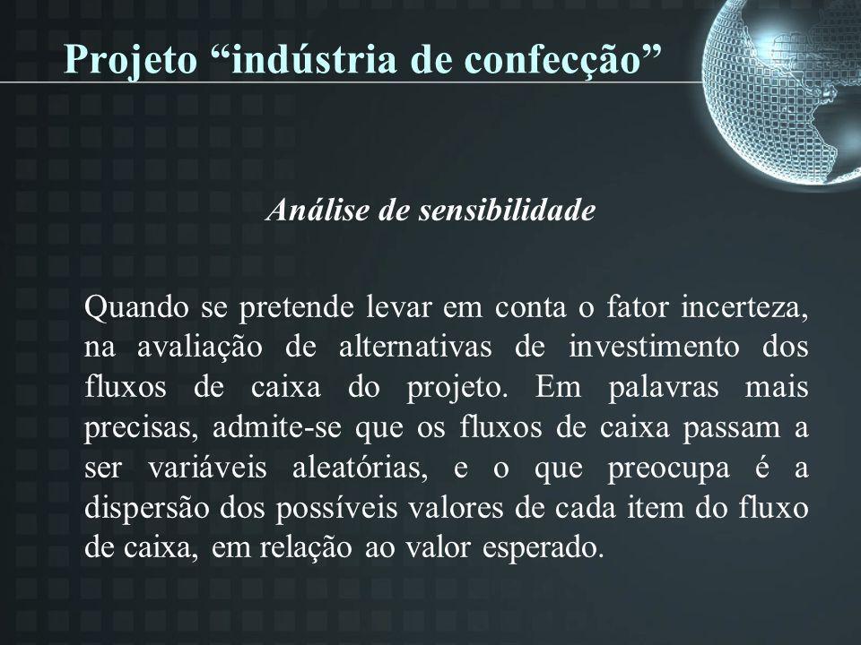 Projeto indústria de confecção Análise de sensibilidade Quando se pretende levar em conta o fator incerteza, na avaliação de alternativas de investime
