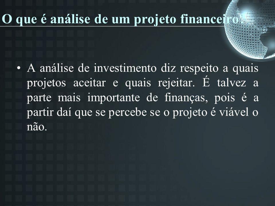 O que é análise de um projeto financeiro? A análise de investimento diz respeito a quais projetos aceitar e quais rejeitar. É talvez a parte mais impo