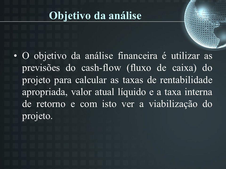 Objetivo da análise O objetivo da análise financeira é utilizar as previsões do cash-flow (fluxo de caixa) do projeto para calcular as taxas de rentab