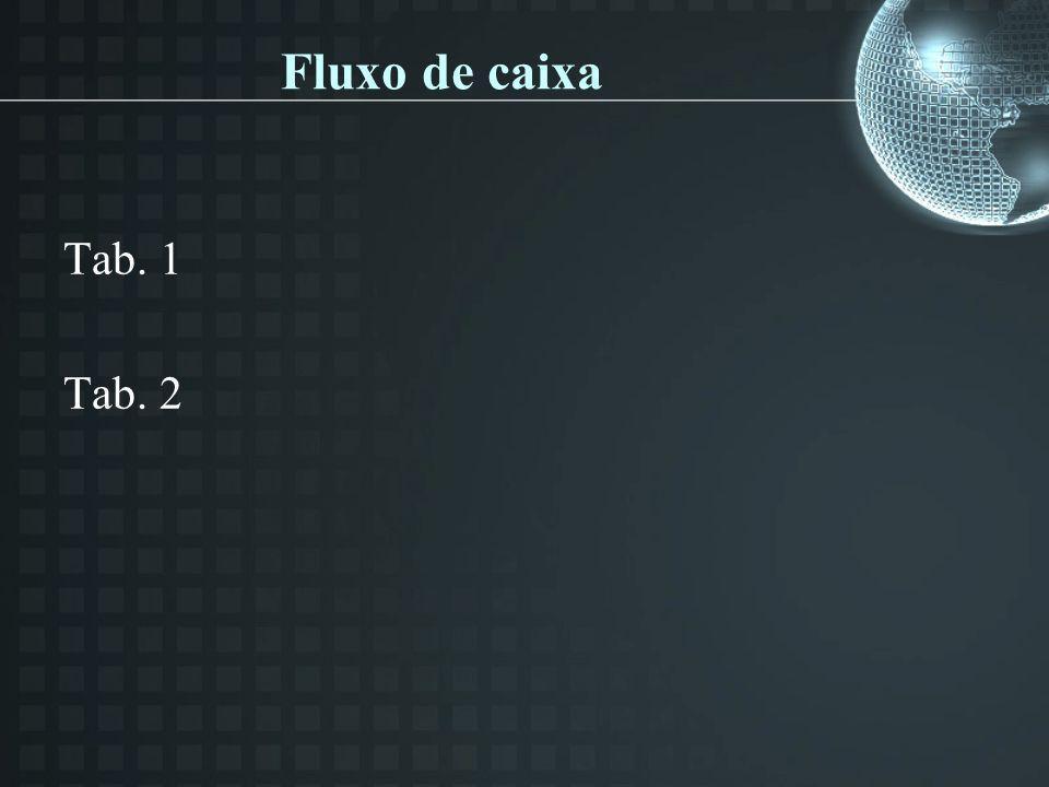 Fluxo de caixa Tab. 1 Tab. 2