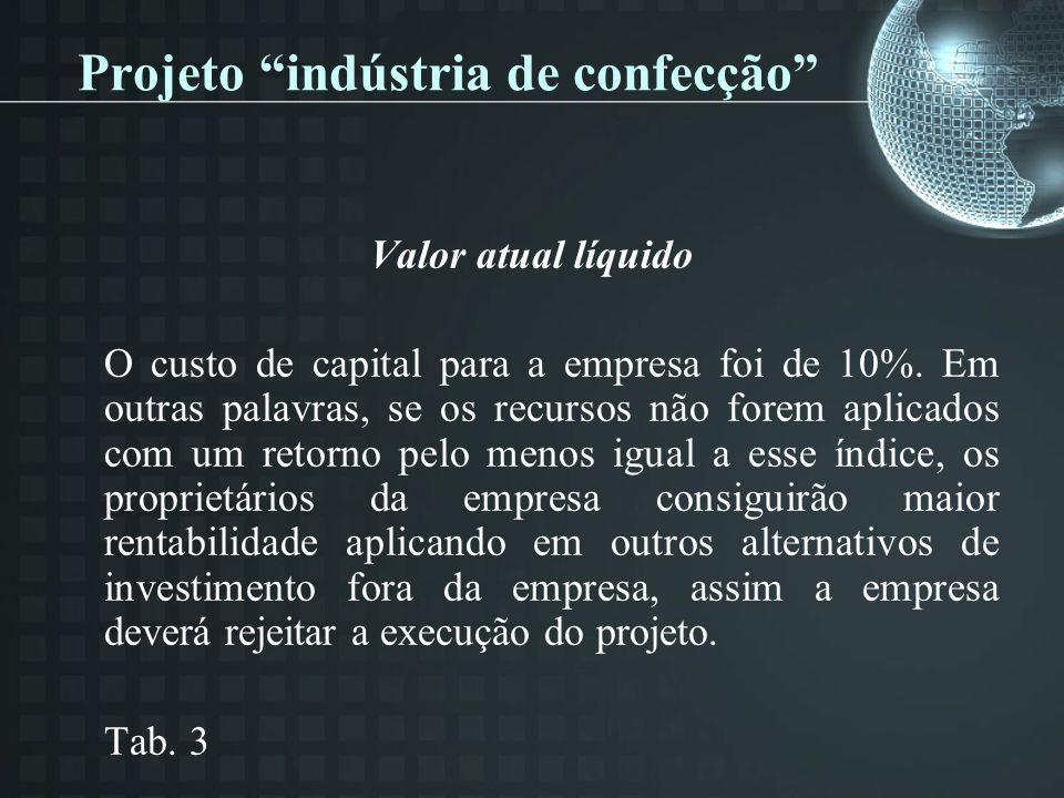 Projeto indústria de confecção Valor atual líquido O custo de capital para a empresa foi de 10%. Em outras palavras, se os recursos não forem aplicado