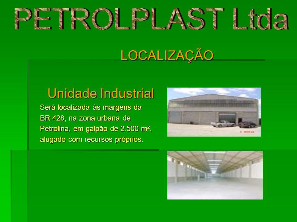 LOCALIZAÇÃO Unidade Industrial Unidade Industrial Será localizada às margens da BR 428, na zona urbana de Petrolina, em galpão de 2.500 m², alugado co