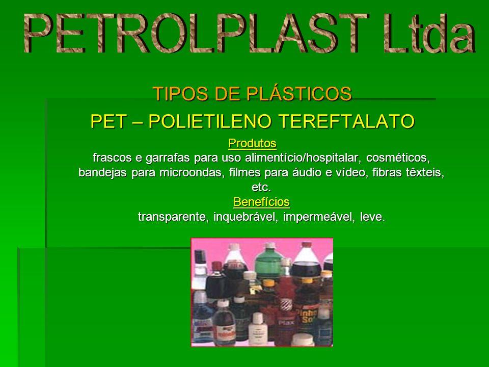 TIPOS DE PLÁSTICOS PET – POLIETILENO TEREFTALATO Produtos frascos e garrafas para uso alimentício/hospitalar, cosméticos, bandejas para microondas, fi