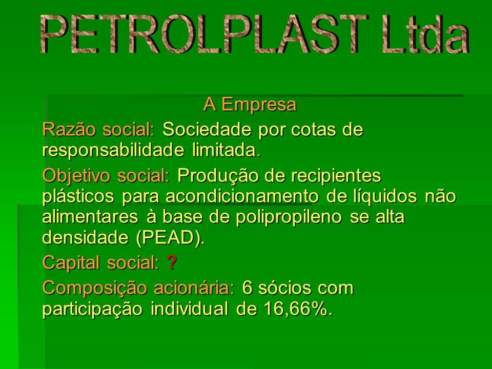 A Empresa Razão social: Sociedade por cotas de responsabilidade limitada. Objetivo social: Produção de recipientes plásticos para acondicionamento de
