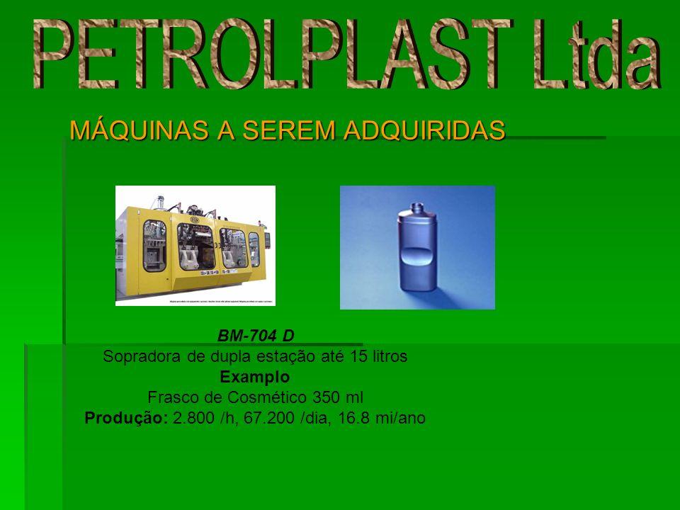 MÁQUINAS A SEREM ADQUIRIDAS BM-704 D Sopradora de dupla estação até 15 litros Examplo Frasco de Cosmético 350 ml Produção: 2.800 /h, 67.200 /dia, 16.8