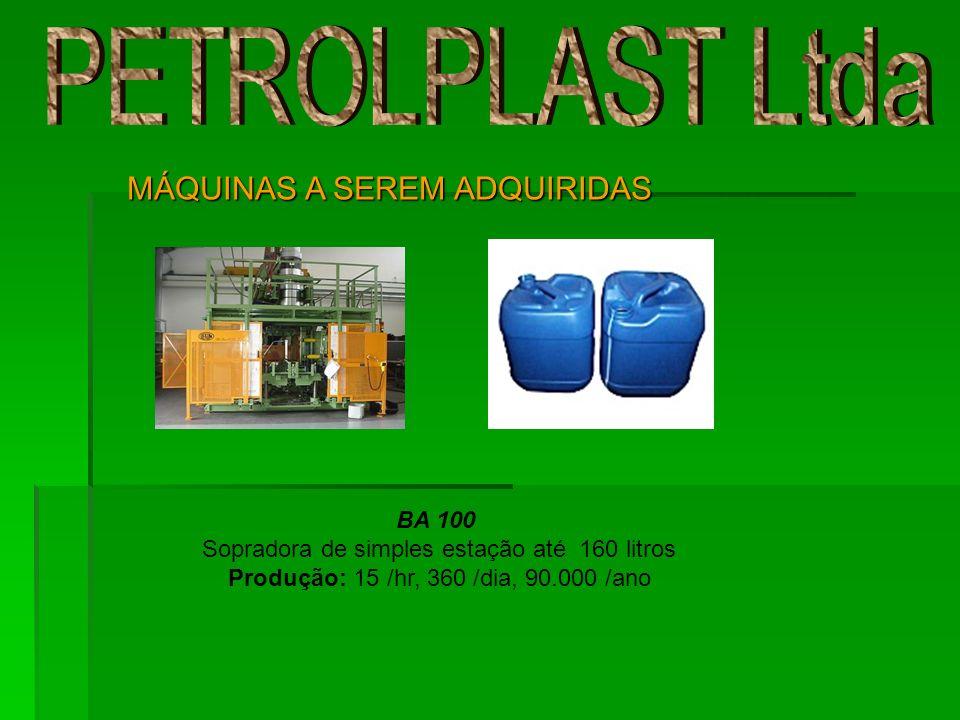 BA 100 Sopradora de simples estação até 160 litros Produção: 15 /hr, 360 /dia, 90.000 /ano MÁQUINAS A SEREM ADQUIRIDAS