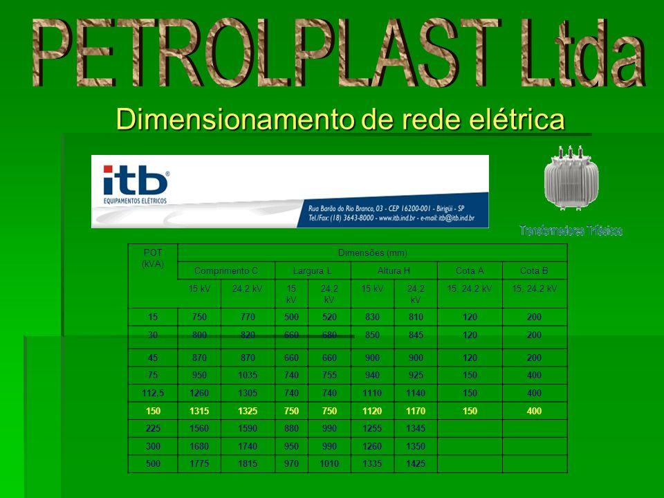 Dimensionamento de rede elétrica POT (kVA) Dimensões (mm) Comprimento CLargura LAltura HCota ACota B 15 kV24,2 kV15 kV 24,2 kV 15 kV24,2 kV 15, 24,2 k