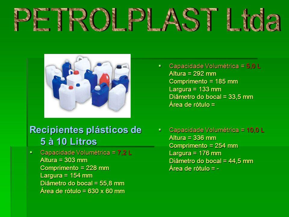 Capacidade volumétrica 40 litros Altura 447 mm Comprimento 473 mm Largura 270 mm Diâmetro do bocal 52,5 mm Capacidade volumétrica 40 litros Altura 447 mm Comprimento 473 mm Largura 270 mm Diâmetro do bocal 52,5 mm Recipientes plásticos de 40 à 50 Litros Recipientes plásticos de 40 à 50 Litros Capacidade volumétrica 50 litros Altura 586 mm Comprimento 390 mm Largura 330 mm Diâmetro do bocal 52,7 mm Área de rótulo 150x150 mm Alça em cima Capacidade volumétrica 50 litros Altura 586 mm Comprimento 390 mm Largura 330 mm Diâmetro do bocal 52,7 mm Área de rótulo 150x150 mm Alça em cima