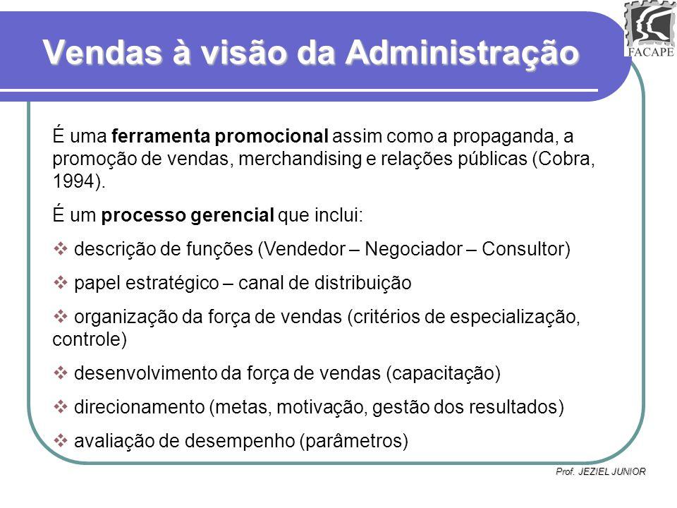 Prof. JEZIEL JUNIOR Vendas à visão da Administração É uma ferramenta promocional assim como a propaganda, a promoção de vendas, merchandising e relaçõ