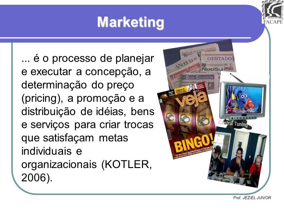 Prof. JEZIEL JUNIOR Marketing... é o processo de planejar e executar a concepção, a determinação do preço (pricing), a promoção e a distribuição de id