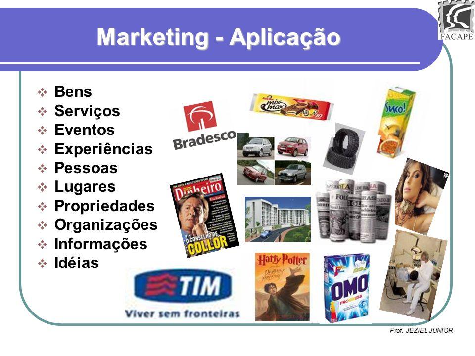 Prof. JEZIEL JUNIOR Marketing - Aplicação Bens Serviços Eventos Experiências Pessoas Lugares Propriedades Organizações Informações Idéias
