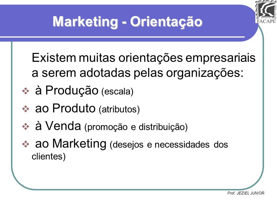 Prof. JEZIEL JUNIOR Marketing - Orientação Existem muitas orientações empresariais a serem adotadas pelas organizações: à Produção (escala) ao Produto
