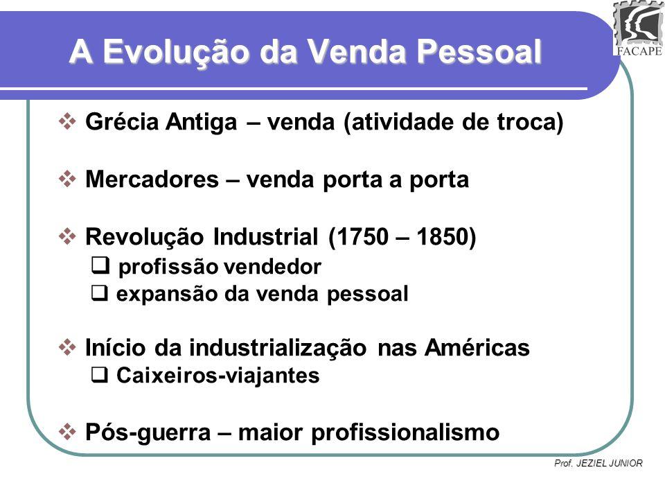 Prof. JEZIEL JUNIOR A Evolução da Venda Pessoal Grécia Antiga – venda (atividade de troca) Mercadores – venda porta a porta Revolução Industrial (1750