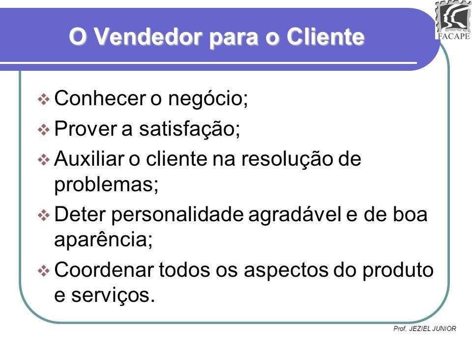 Prof. JEZIEL JUNIOR O Vendedor para o Cliente Conhecer o negócio; Prover a satisfação; Auxiliar o cliente na resolução de problemas; Deter personalida