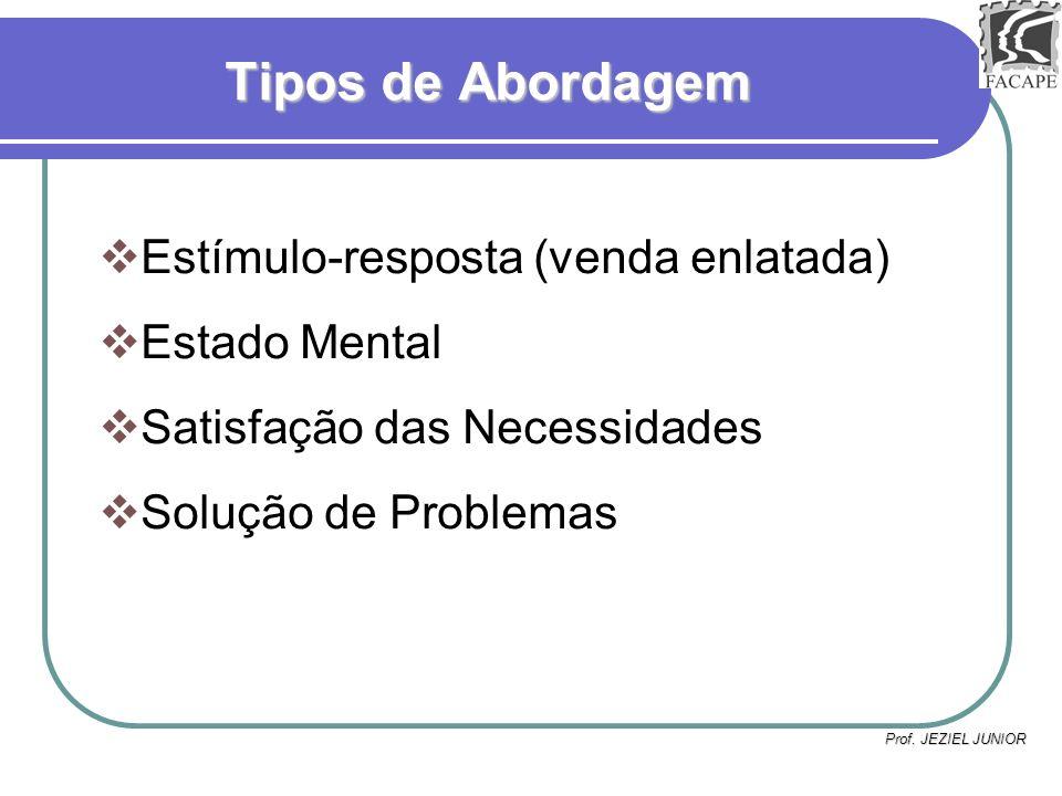Prof. JEZIEL JUNIOR Tipos de Abordagem Estímulo-resposta (venda enlatada) Estado Mental Satisfação das Necessidades Solução de Problemas