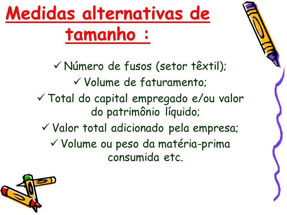 Medidas alternativas de tamanho : Número de fusos (setor têxtil); Volume de faturamento; Total do capital empregado e/ou valor do patrimônio líquido;