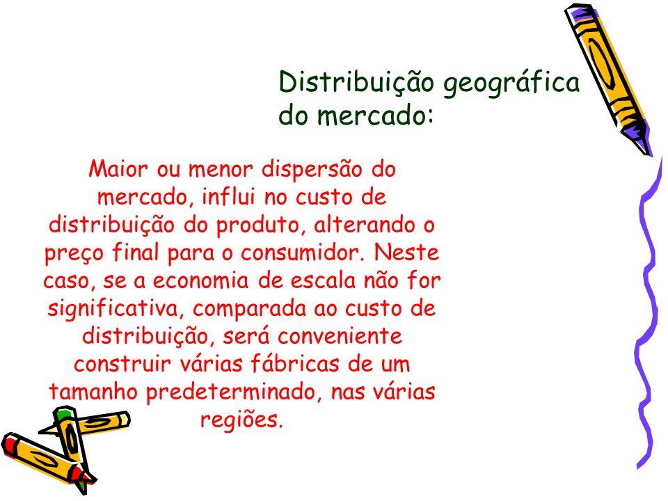 Distribuição geográfica do mercado: Maior ou menor dispersão do mercado, influi no custo de distribuição do produto, alterando o preço final para o co