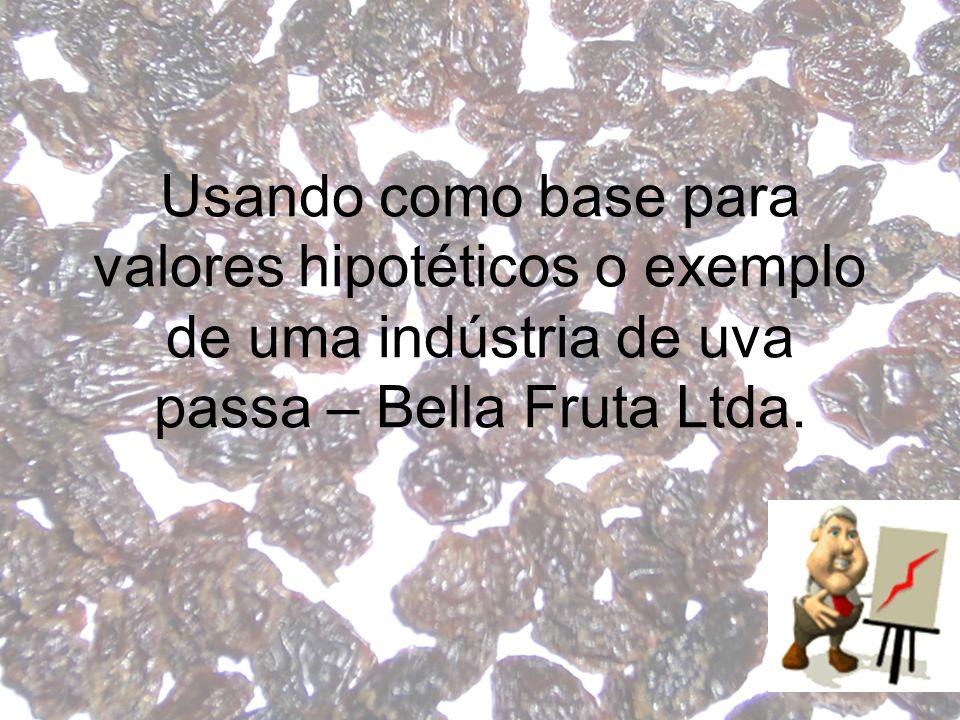 Usando como base para valores hipotéticos o exemplo de uma indústria de uva passa – Bella Fruta Ltda.