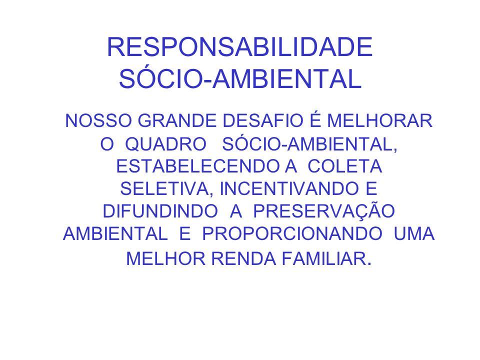 RESPONSABILIDADE SÓCIO-AMBIENTAL NOSSO GRANDE DESAFIO É MELHORAR O QUADRO SÓCIO-AMBIENTAL, ESTABELECENDO A COLETA SELETIVA, INCENTIVANDO E DIFUNDINDO
