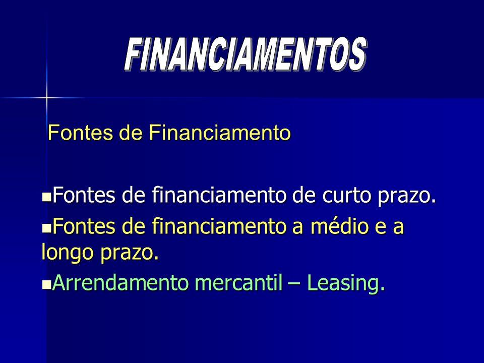 Leasing (Funciona como um aluguel) Leasing (Funciona como um aluguel) Vantagens: Vantagens: Libera recursos para capital de giro; Libera recursos para capital de giro; Possibilita a dedução das despesas de aluguel para apuração do imposto sobre a renda a pagar; Possibilita a dedução das despesas de aluguel para apuração do imposto sobre a renda a pagar; Evita restrições ligadas a empréstimos; Evita restrições ligadas a empréstimos; Substitui compra financiada, evitando riscos de obsolescência e sinistro.