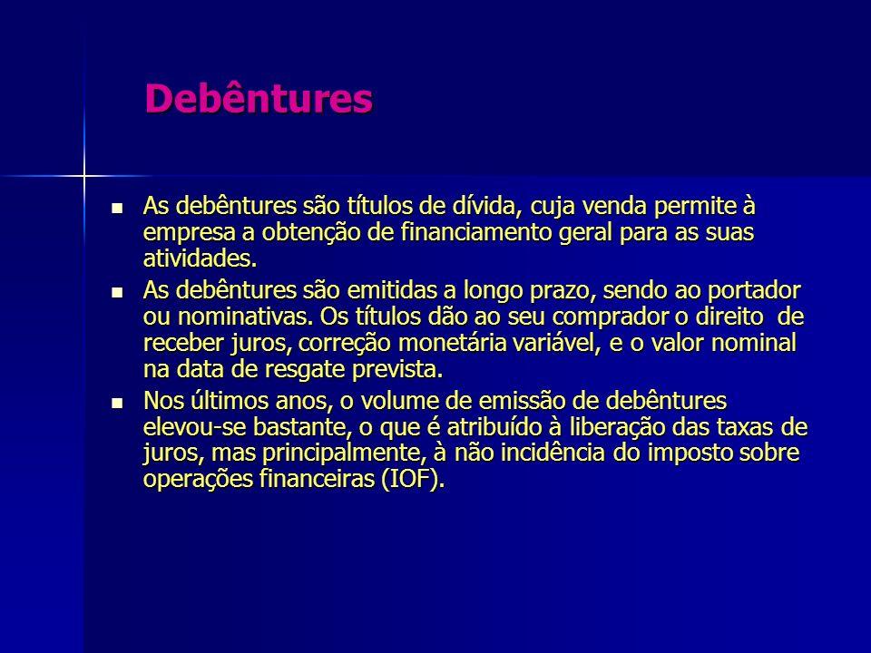 Debêntures Debêntures As debêntures são títulos de dívida, cuja venda permite à empresa a obtenção de financiamento geral para as suas atividades. As