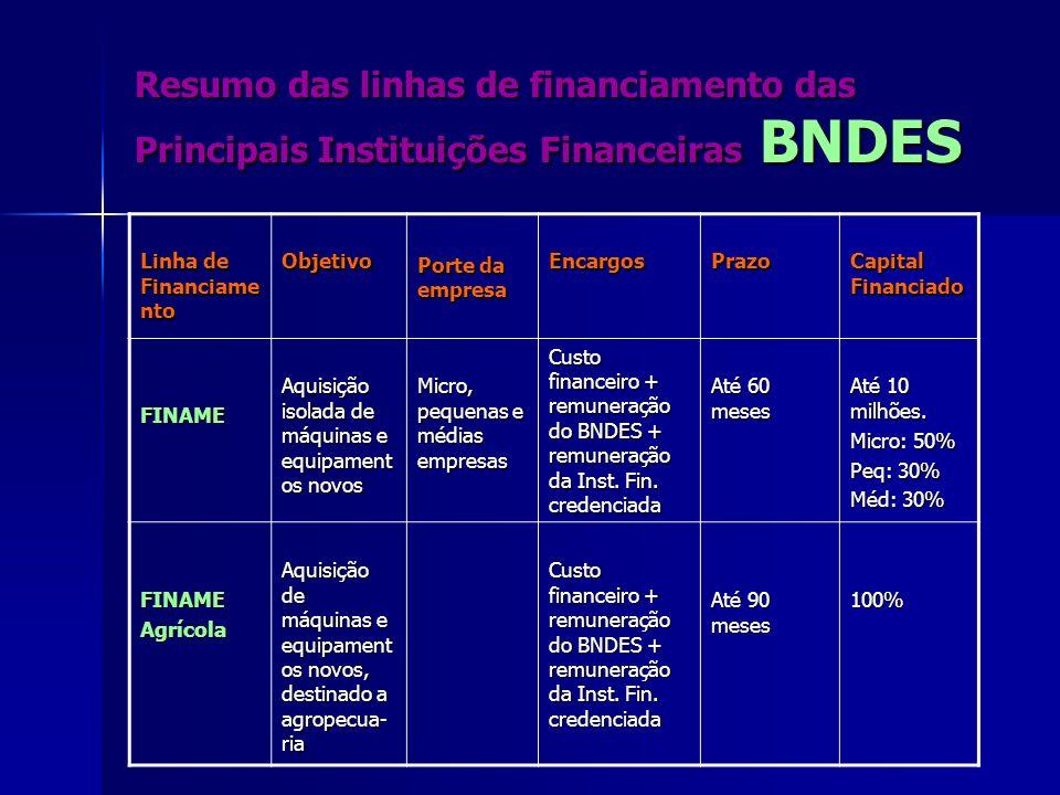 Resumo das linhas de financiamento das Principais Instituições Financeiras BNDES Linha de Financiame nto Objetivo Porte da empresa EncargosPrazo Capit