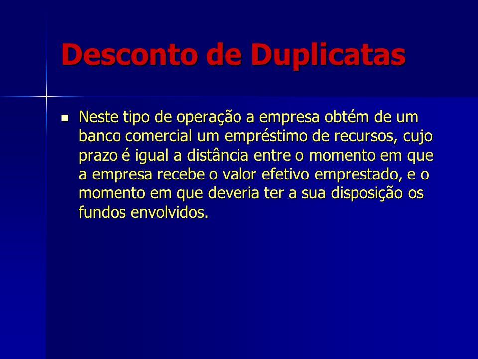 Desconto de Duplicatas Neste tipo de operação a empresa obtém de um banco comercial um empréstimo de recursos, cujo prazo é igual a distância entre o