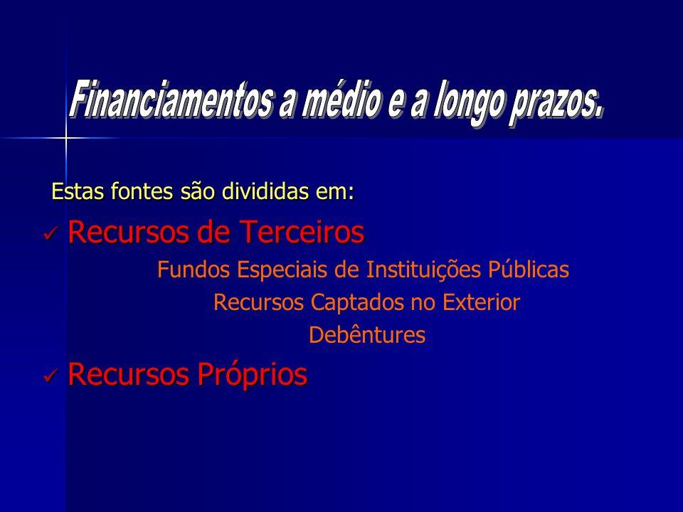 Estas fontes são divididas em: Estas fontes são divididas em: Recursos de Terceiros Recursos de Terceiros Fundos Especiais de Instituições Públicas Re