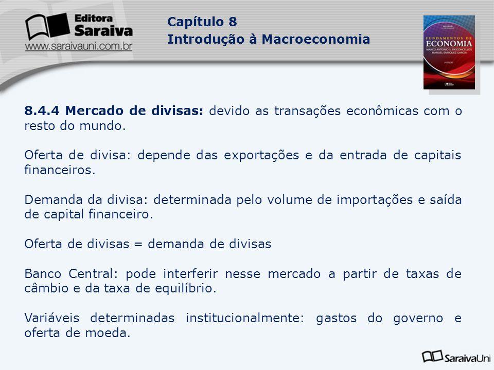Capítulo 8 Introdução à Macroeconomia 8.4.4 Mercado de divisas: devido as transações econômicas com o resto do mundo.