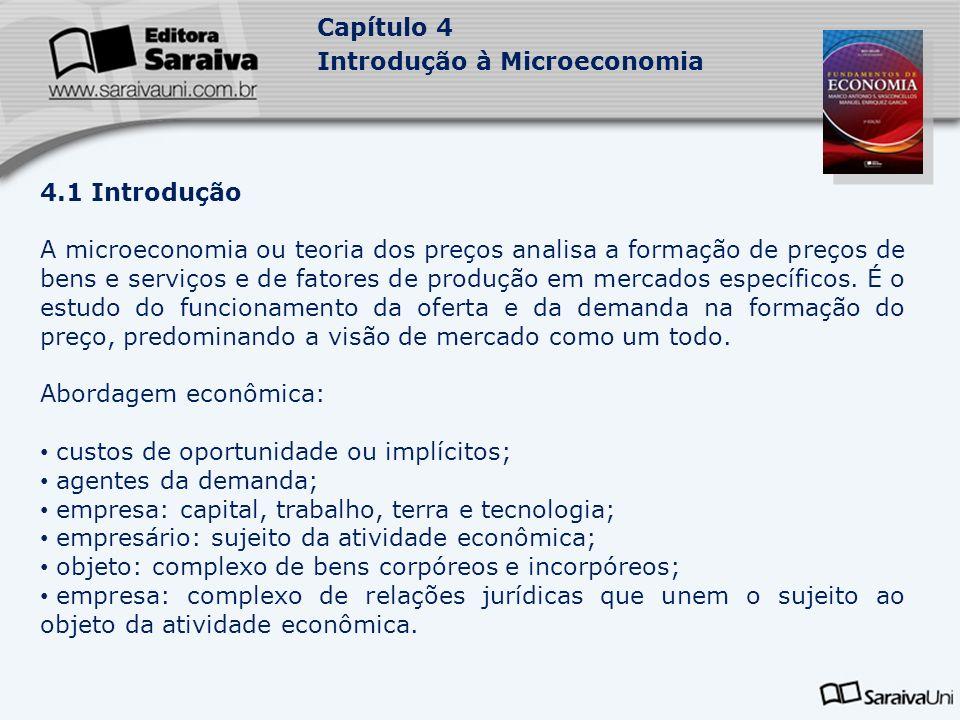 Capítulo 4 Introdução à Microeconomia 4.2 Pressupostos básicos da análise microeconômica 4.2.1 A hipótese coeteris paribus: ao analisar um mercado específico parte-se da hipótese de que tudo o mais permanece constante.