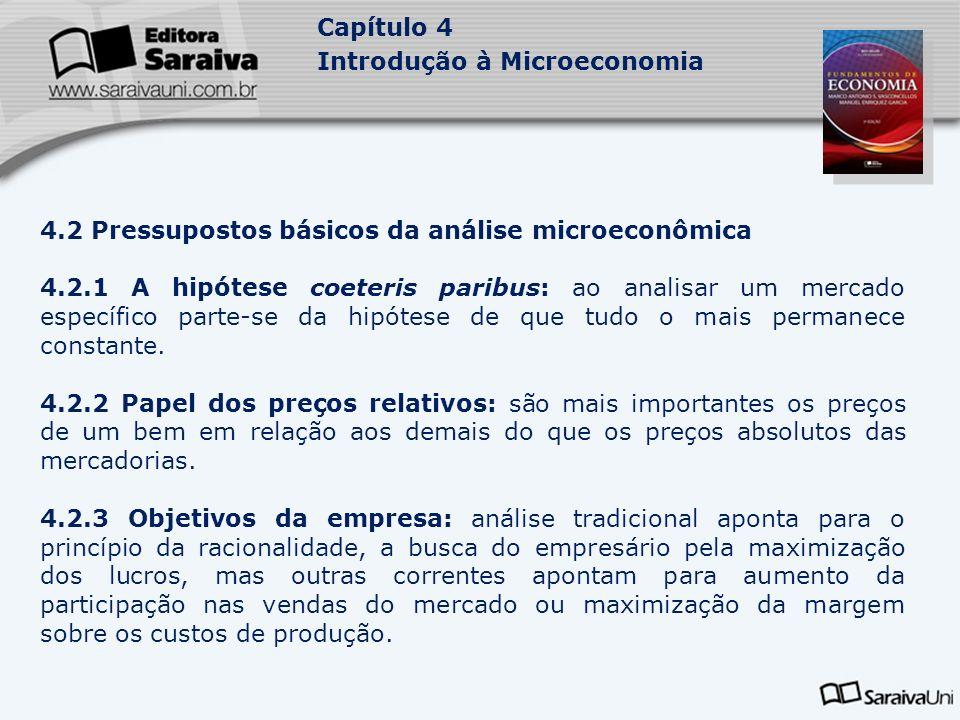 Capítulo 4 Introdução à Microeconomia 4.3 Aplicações da análise microeconômica: preocupa-se em explicar como se determina o preço dos bens e serviços e dos fatores de produção.