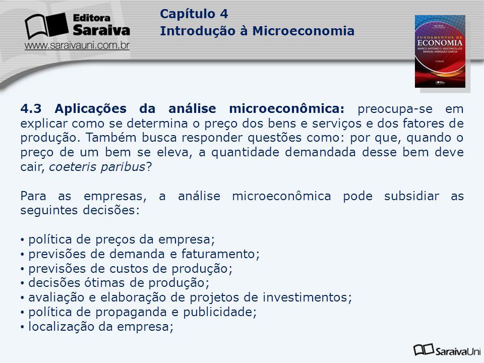 Capítulo 4 Introdução à Microeconomia 4.3 Aplicações da análise microeconômica: preocupa-se em explicar como se determina o preço dos bens e serviços