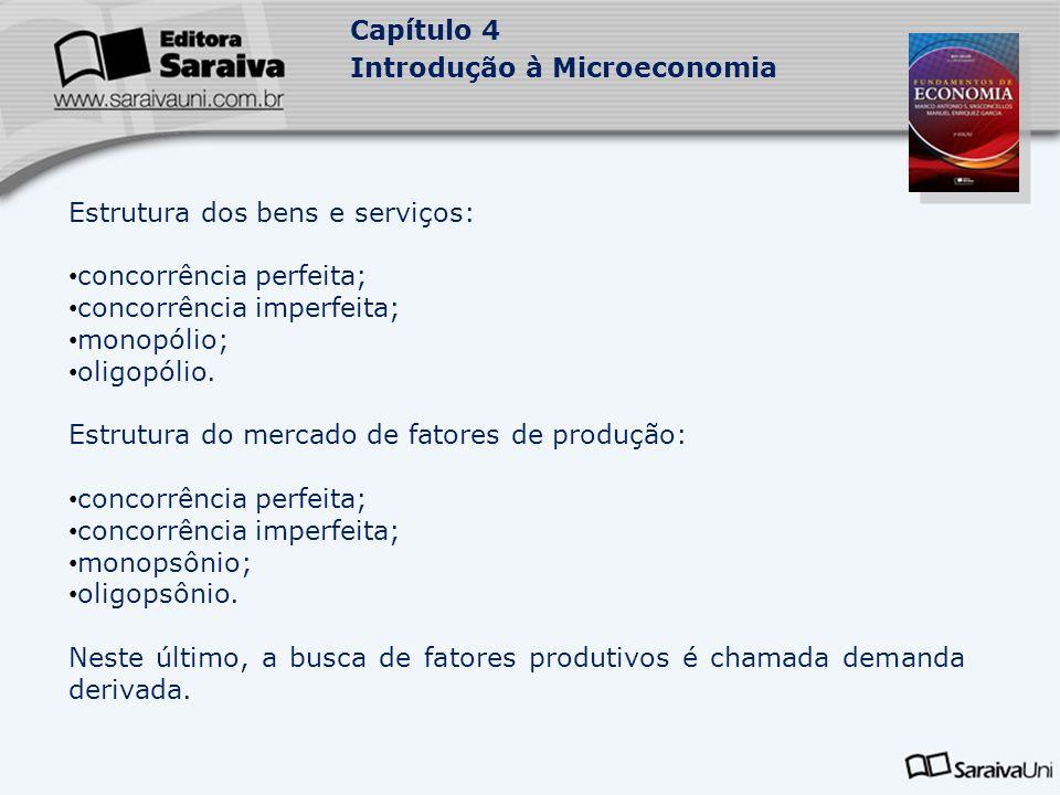Capítulo 4 Introdução à Microeconomia Estrutura dos bens e serviços: concorrência perfeita; concorrência imperfeita; monopólio; oligopólio. Estrutura