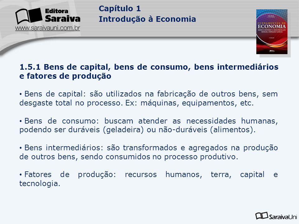 Capítulo 1 Introdução à Economia 1.5.1 Bens de capital, bens de consumo, bens intermediários e fatores de produção Bens de capital: são utilizados na