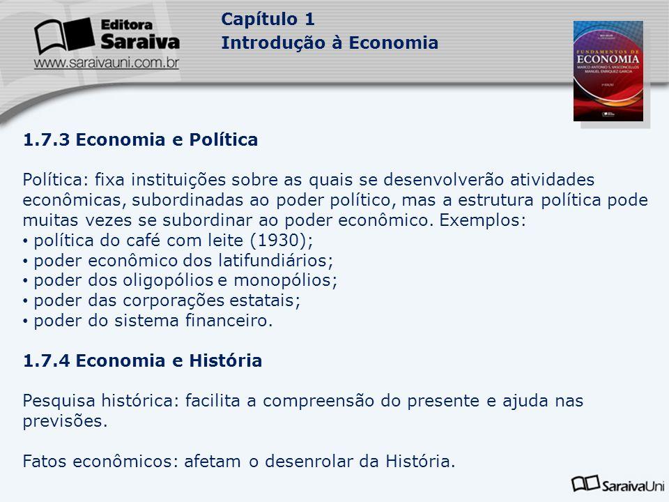 Capítulo 1 Introdução à Economia 1.7.3 Economia e Política Política: fixa instituições sobre as quais se desenvolverão atividades econômicas, subordin