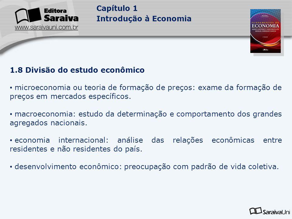 Capítulo 1 Introdução à Economia 1.8 Divisão do estudo econômico microeconomia ou teoria de formação de preços: exame da formação de preços em mercado