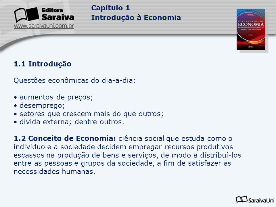 Capítulo 1 Introdução à Economia 1.1 Introdução Questões econômicas do dia-a-dia: aumentos de preços; desemprego; setores que crescem mais do que outr