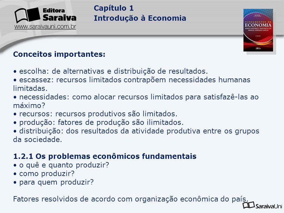 Capítulo 1 Introdução à Economia Conceitos importantes: escolha: de alternativas e distribuição de resultados. escassez: recursos limitados contrapõem