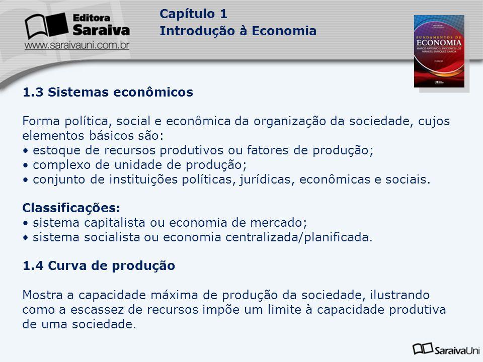 Capítulo 1 Introdução à Economia 1.3 Sistemas econômicos Forma política, social e econômica da organização da sociedade, cujos elementos básicos são: