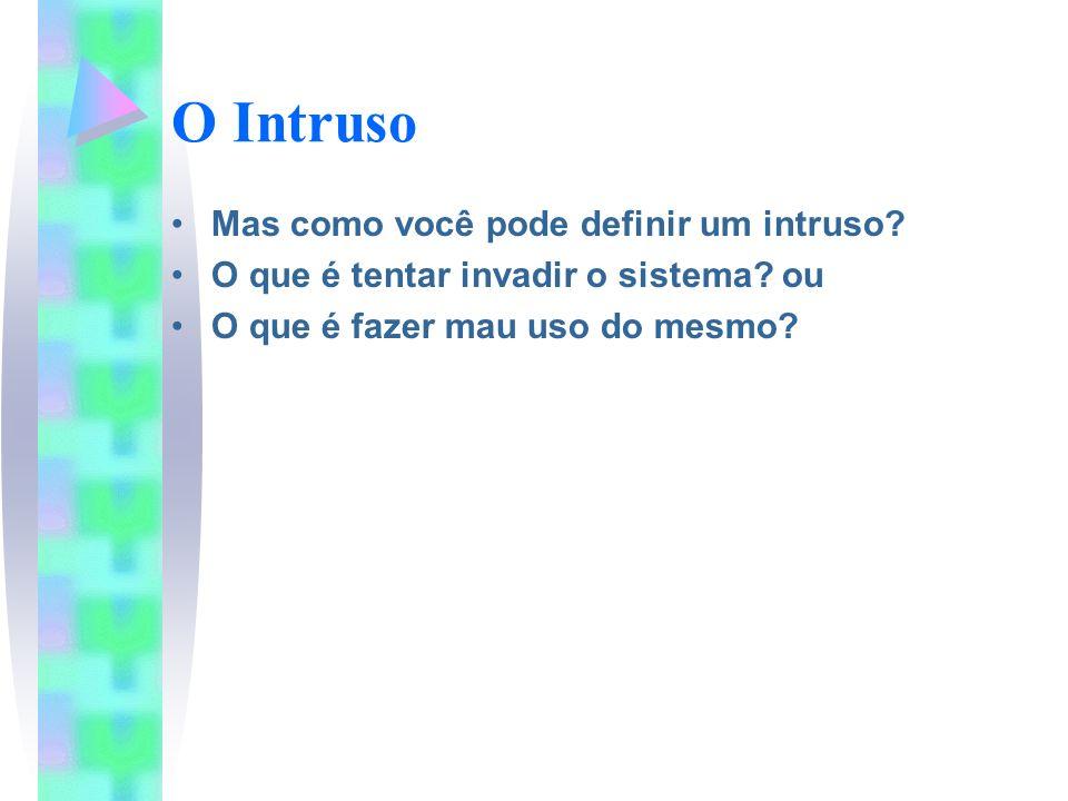 O Intruso Mas como você pode definir um intruso? O que é tentar invadir o sistema? ou O que é fazer mau uso do mesmo?