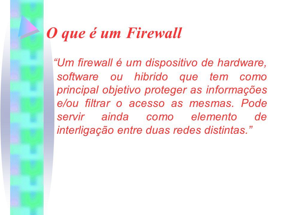 O que é um Firewall Um firewall é um dispositivo de hardware, software ou hibrido que tem como principal objetivo proteger as informações e/ou filtrar