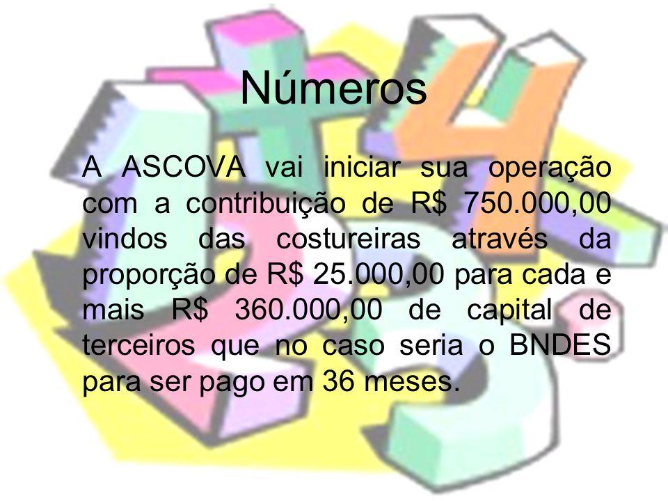 Números A ASCOVA vai iniciar sua operação com a contribuição de R$ 750.000,00 vindos das costureiras através da proporção de R$ 25.000,00 para cada e
