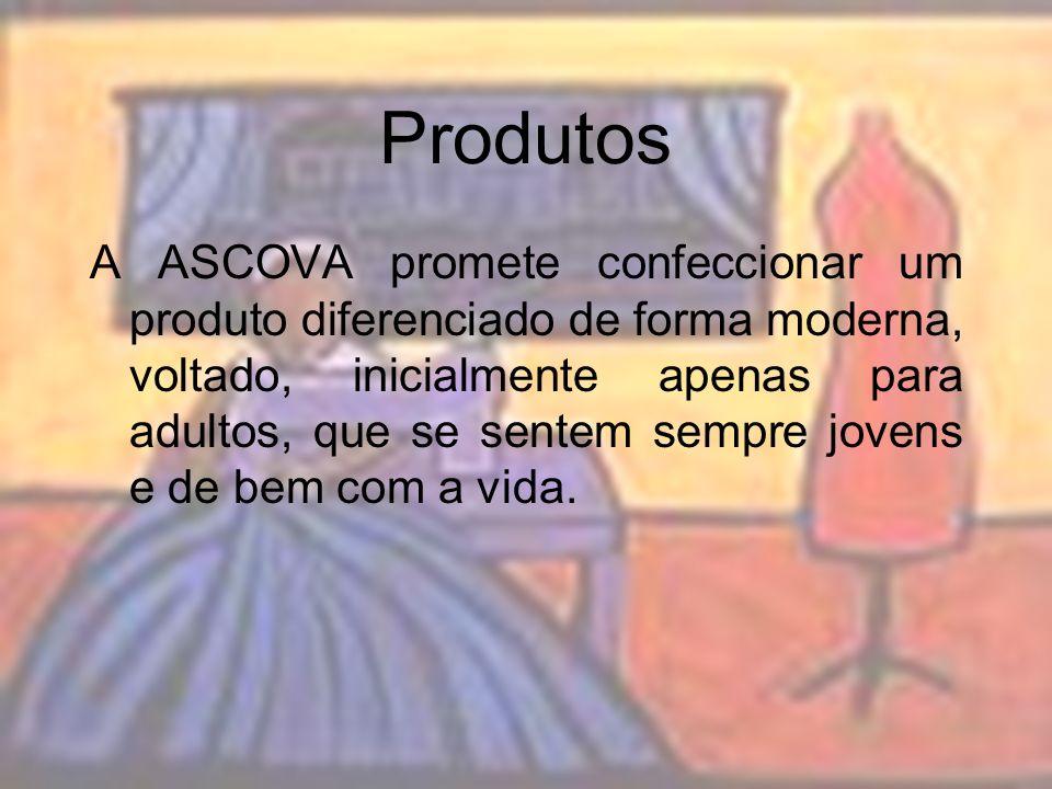 Produtos A ASCOVA promete confeccionar um produto diferenciado de forma moderna, voltado, inicialmente apenas para adultos, que se sentem sempre joven
