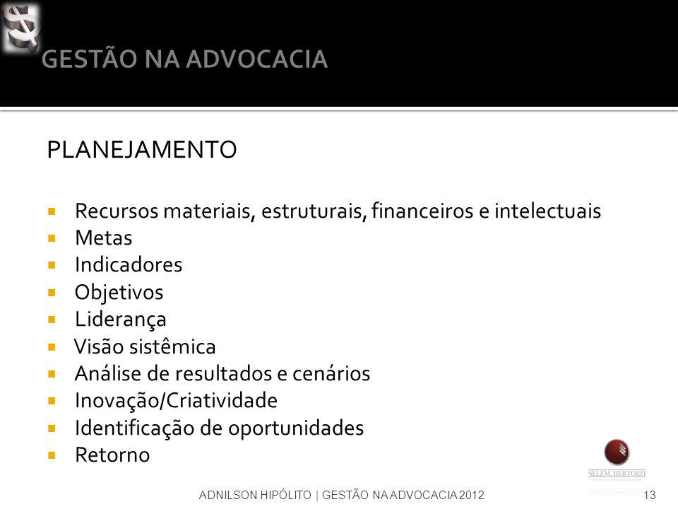 ADNILSON HIPÓLITO   GESTÃO NA ADVOCACIA 201213 PLANEJAMENTO Recursos materiais, estruturais, financeiros e intelectuais Metas Indicadores Objetivos Li