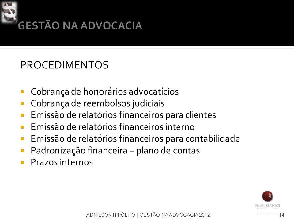 ADNILSON HIPÓLITO   GESTÃO NA ADVOCACIA 201214 PROCEDIMENTOS Cobrança de honorários advocatícios Cobrança de reembolsos judiciais Emissão de relatório
