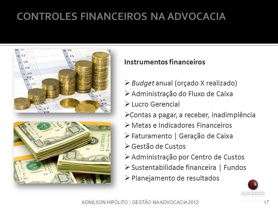 Instrumentos financeiros Budget anual (orçado X realizado) Administração do Fluxo de Caixa Lucro Gerencial Contas a pagar, a receber, inadimplência Me