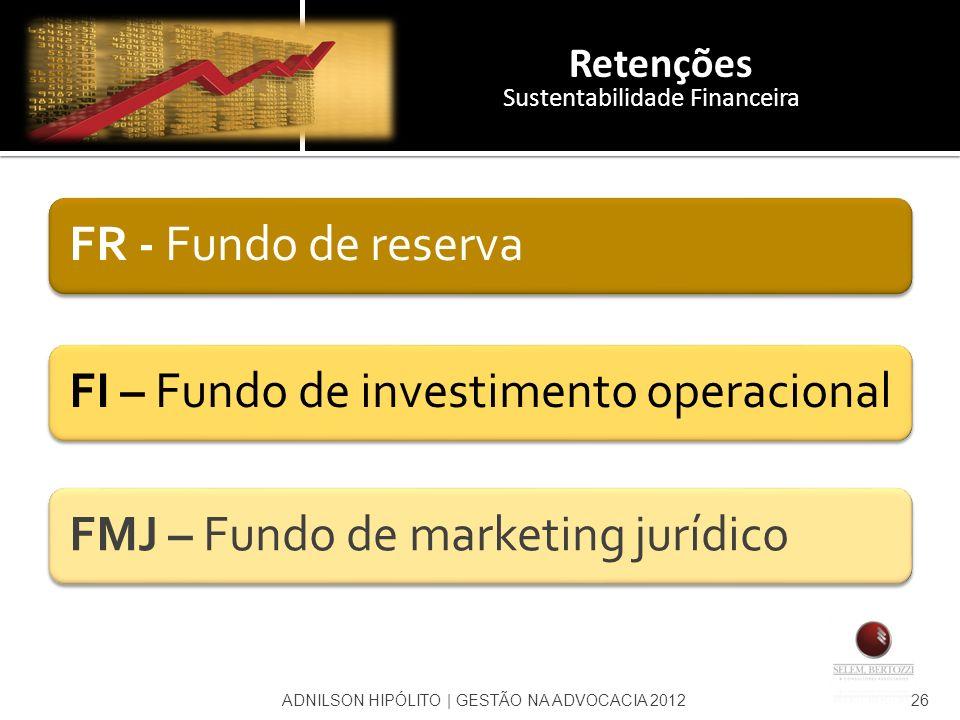 Retenções Sustentabilidade Financeira FR - Fundo de reservaFI – Fundo de investimento operacionalFMJ – Fundo de marketing jurídico ADNILSON HIPÓLITO  