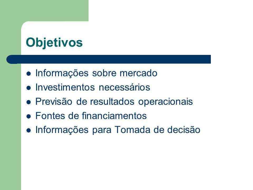 Objetivos Informações sobre mercado Investimentos necessários Previsão de resultados operacionais Fontes de financiamentos Informações para Tomada de decisão