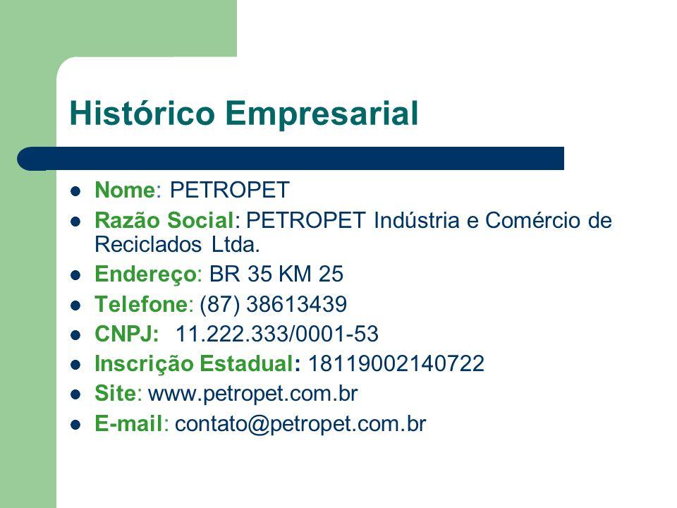 Histórico Empresarial Nome: PETROPET Razão Social: PETROPET Indústria e Comércio de Reciclados Ltda.